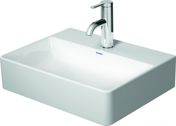 DU Handwaschbecken DuraSquare 450mm o.ÜL, m.HLB, 1.HL, geschl, weiß, WG