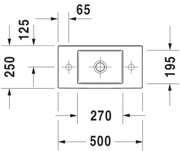 DU Handwaschbecken Vero Air 500mm o.ÜL, m.HLB, 1 HL rechts, weiß
