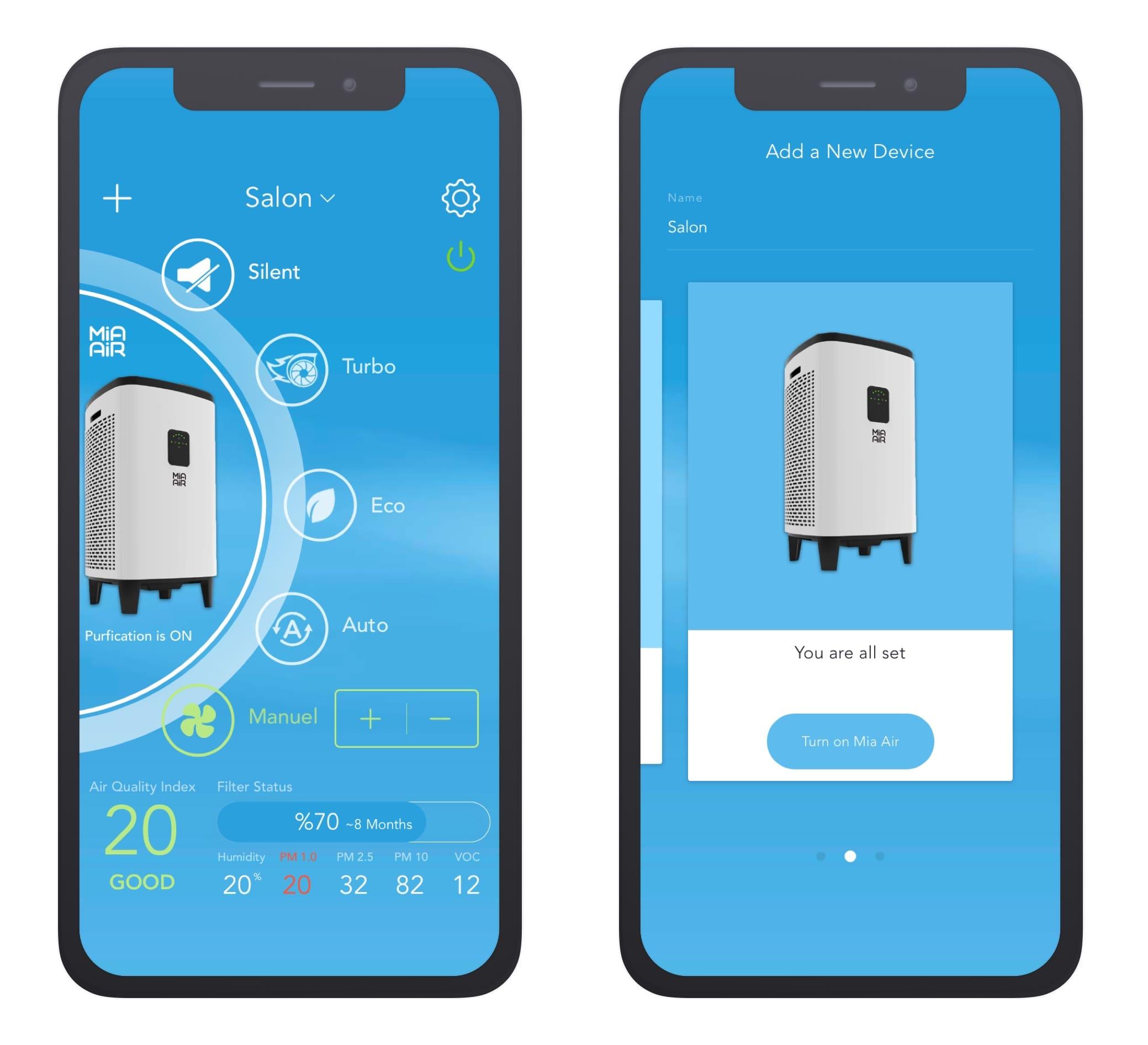 Mobile App Raumluftreiniger Mia Air 2