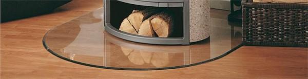 Kaminofen Zubehör Bodenplatte aus Glas 6mm Rundbogen B3 1000x1200mm