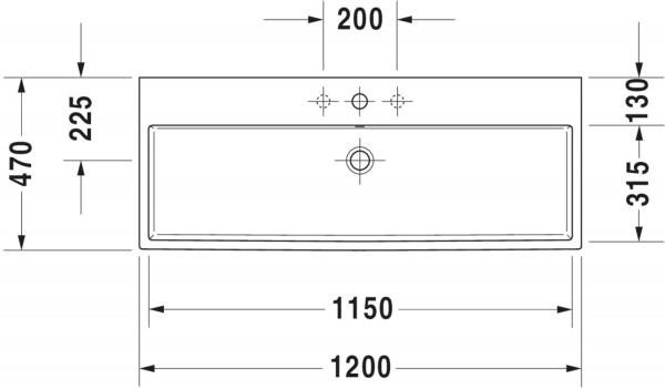 DU Waschtisch Vero Air 1200mm, Weiß mit ÜL, mit HLB, 2 HL, geschliffen, WG