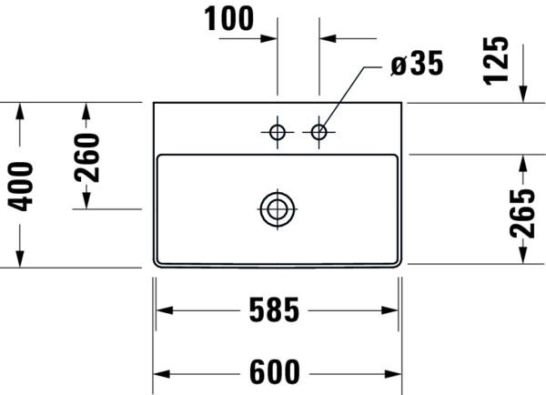 DU Möbel-WT compact DuraSquare 600mm o.ÜL,mit HLB,1.HL,weiß,WG, geschliffen