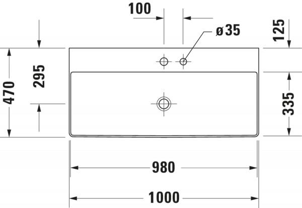 DU Möbel-WT DuraSquare 1000mm o. ÜL, 1. HL, geschl., weiß, WG