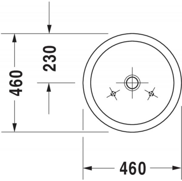 DU Aufsatzbecken Starck 1 460 mm o.ÜL, o.HLB, geschliffen, weiß