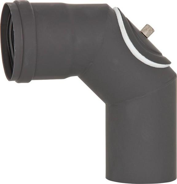 Pellet-Abgasrohr-Bogen 90° mit Revision, Drm. 80mm, lackiert, mit Silikondichtung