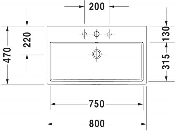 DU Waschtisch Vero Air 800mm m.ÜL, m.HLB, 1HL, geschl., weiß, WG