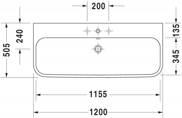 DU Möbelwaschtisch Happy D.2 1200 mm mit ÜL, mit HLB, 1 HL, weiß
