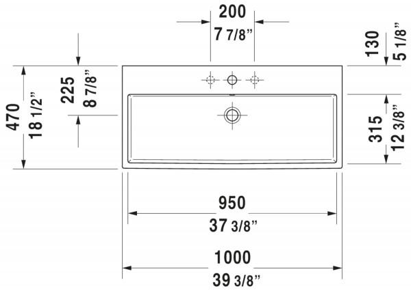 DU Waschtisch Vero Air 1000mm, Weiß mit ÜL, mit HLB, 2 HL, geschliffen