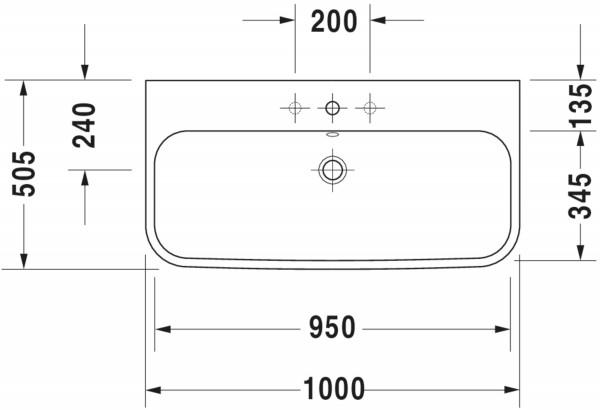 DU Möbelwaschtisch Happy D.2 1000 mm mit ÜL, mit HLB, 1 HL, weiß WonderGliss