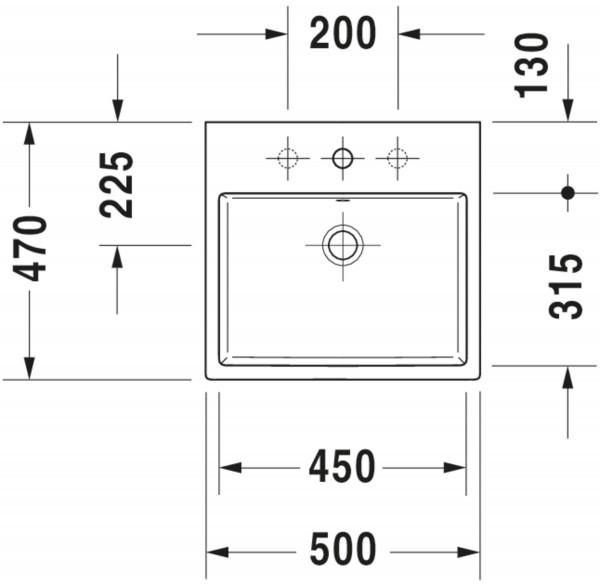 DU Aufsatzbecken Vero Air 500mm,weiß m.ÜL,m.HLB,1HL,geschl.,RWglasiert,WG