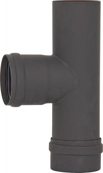 Pellet-Abgasrohr T-Anschluss mit Revision, Ø 80 mm, lackiert, mit Silikondichtung