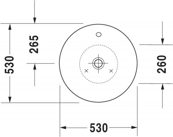 DU Aufsatzbecken Starck 1 530 mm mit ÜL, ohne HLB, weiß