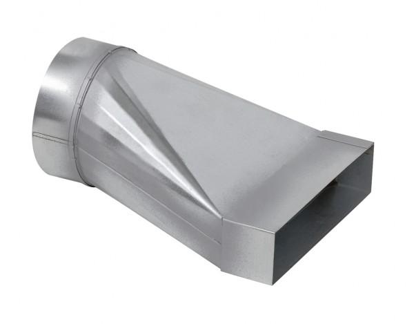 FK-Ü 100/200, Übergang von Rohr DN 100 mm auf Flachkanal 200 x 50 Stahlblech verzinkt