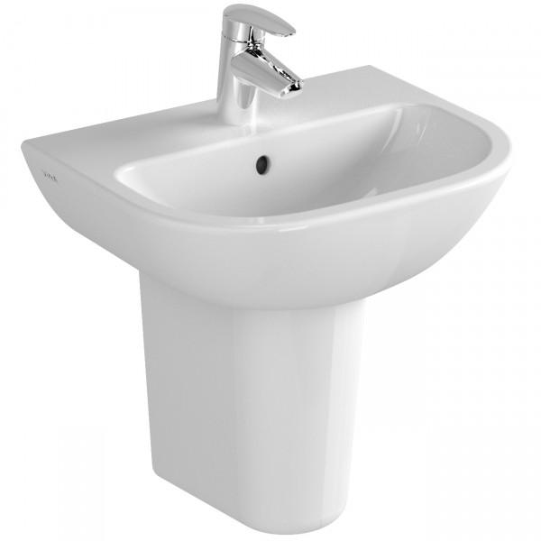 VT Handwaschbecken S20 450 x 355 mm Hahnloch Überlaufloch Weiß Hochglanz