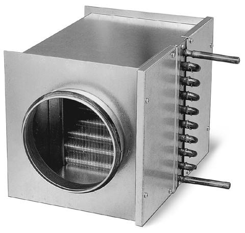 WHR 250, Warmwasser-Heizregister für Rohrdurchmesser 250 mm