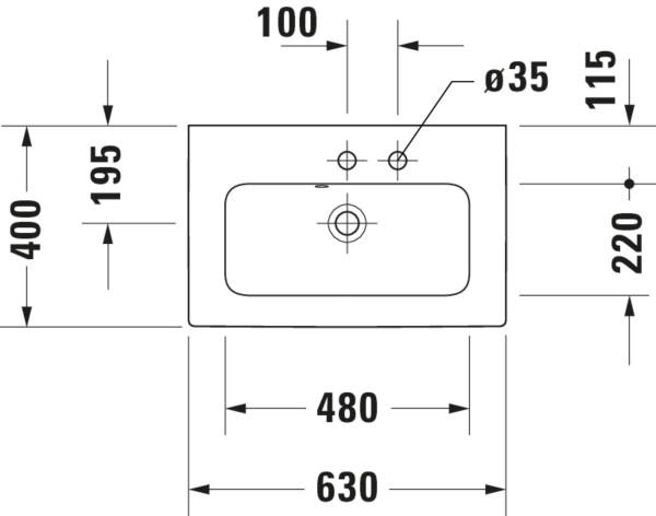DU MWT compact ME by Starck 630mm mit ÜL, mit HLB, 1 HL, weiß, WG