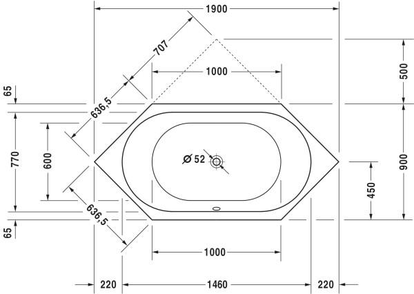 DU Badewanne D-Code 1900x900mm Sechseck, Einbauversion, weiß