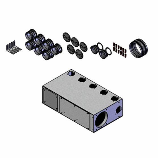 FRS-MVK 5+2-75/160 H FlexPipe Multi-Verteilerkasten mit 7 Einzelstutzen DN 75 und 3 Anschlüssen DN 1