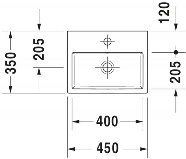 DU Handwaschbecken Vero Air 450mm m.ÜL, m.HLB, m.HL, weiß, WG