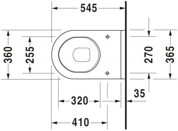 DU Wand-WC Starck 3 Comfort 545 mm Tiefspüler, Sitzhöhe +50 mm, weiß
