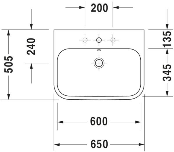 DU Möbelwaschtisch Happy D.2 650 mm mit ÜL, mit HLB, 1 HL, weiß WonderGliss