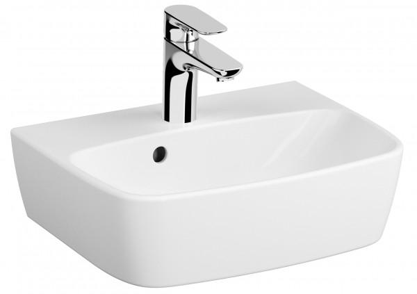 VT Handwaschbecken Shift 450 x 350 mm Hahnloch Überlauf Weiß Hochglanz VC