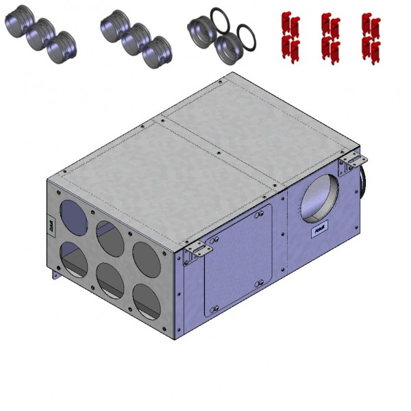 FRS-KVK 6-75/125 L, FlexPipe Kombi-Verteilerkasten 6x DN75, 2x DN100 2x DN125 Geräteanschluß