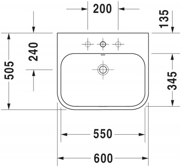 DU Möbelwaschtisch Happy D.2 600 mm mit ÜL, mit HLB, 1 HL geschl., WG