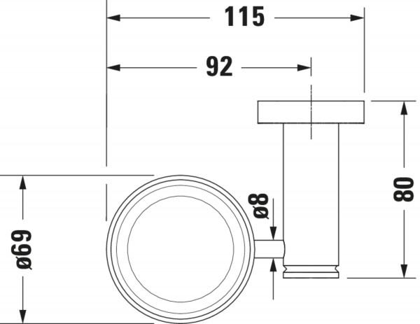 DU Glashalter D-Code Glas links, matt, chrom
