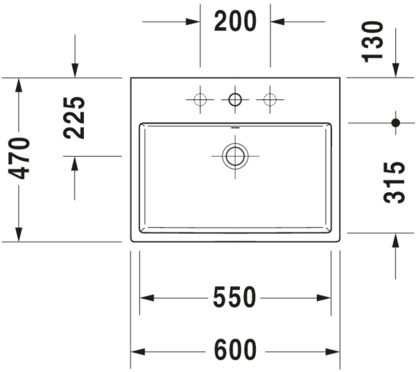 DU Aufsatzbecken Vero Air 600mm m. ÜL, m. HLB, 1 HL, geschl., weiß