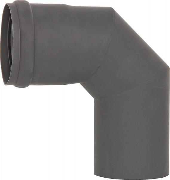 Pellet-Abgasrohr-Bogen 90° Drm. 80mm, lackiert mit Silikondichtung